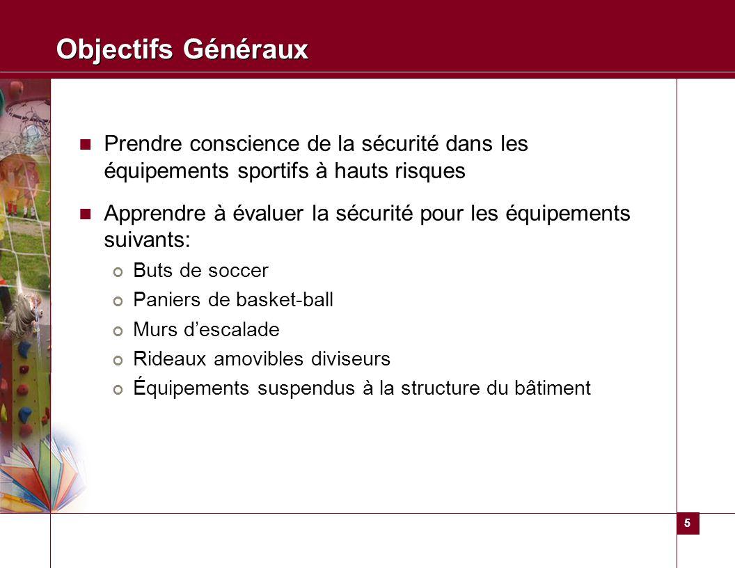 5 Objectifs Généraux Prendre conscience de la sécurité dans les équipements sportifs à hauts risques Apprendre à évaluer la sécurité pour les équipeme