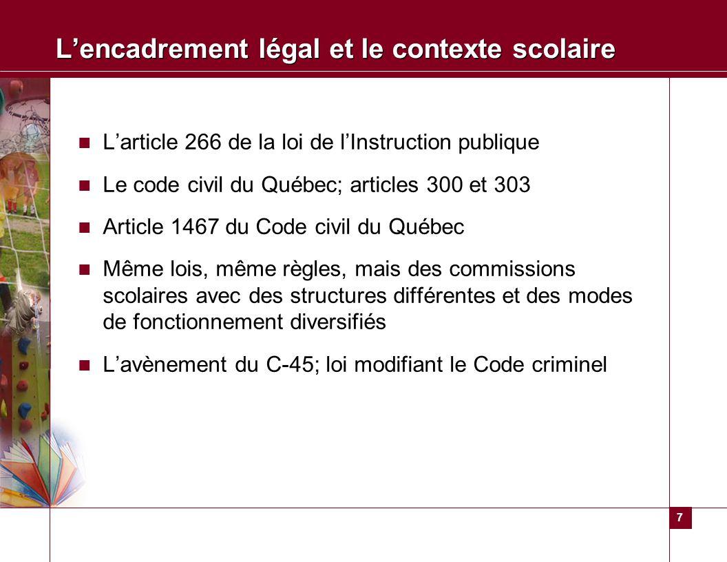 7 Lencadrement légal et le contexte scolaire Larticle 266 de la loi de lInstruction publique Le code civil du Québec; articles 300 et 303 Article 1467