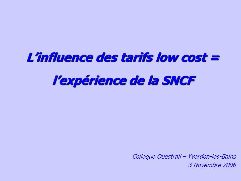 Linfluence des tarifs low cost = lexpérience de la SNCF Colloque Ouestrail – Yverdon-les-Bains 3 Novembre 2006