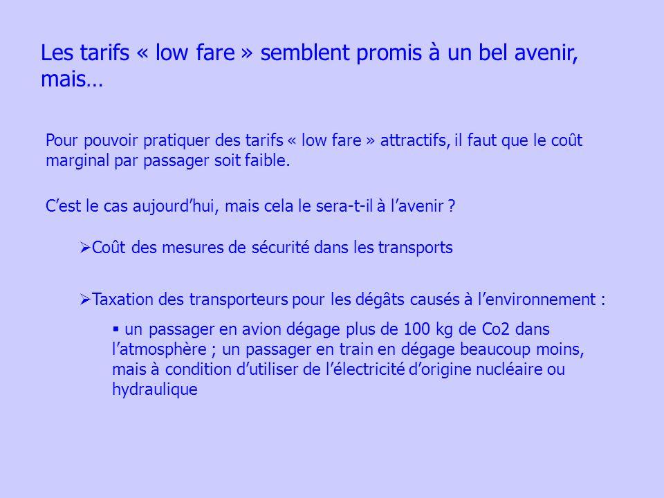 Les tarifs « low fare » semblent promis à un bel avenir, mais… Pour pouvoir pratiquer des tarifs « low fare » attractifs, il faut que le coût marginal par passager soit faible.