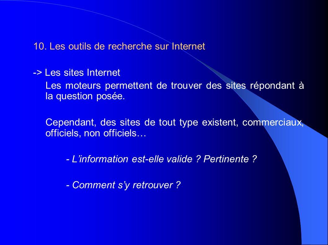10. Les outils de recherche sur Internet -> Les sites Internet Les moteurs permettent de trouver des sites répondant à la question posée. Cependant, d
