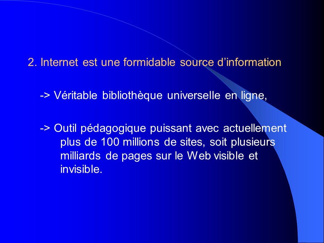2. Internet est une formidable source dinformation -> Véritable bibliothèque universelle en ligne, -> Outil pédagogique puissant avec actuellement plu