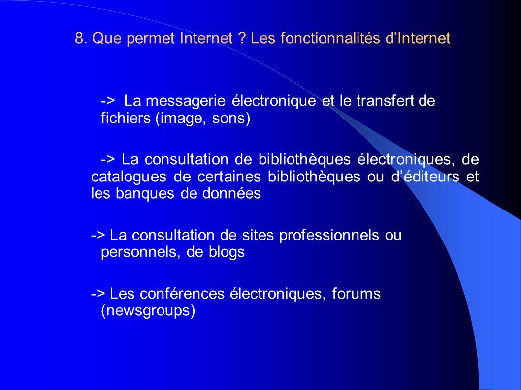 8. Que permet Internet .