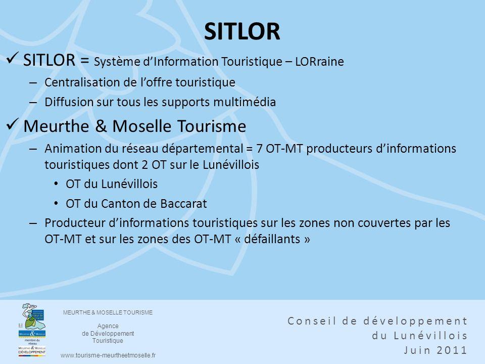 MEURTHE & MOSELLE TOURISME Agence de Développement Touristique www.tourisme-meurtheetmoselle.fr Conseil de développement du Lunévillois Juin 2011 SITL