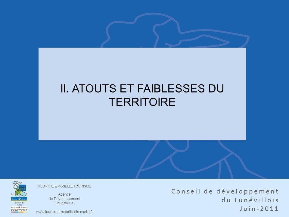 MEURTHE & MOSELLE TOURISME Agence de Développement Touristique www.tourisme-meurtheetmoselle.fr Conseil de développement du Lunévillois Juin-2011 II.