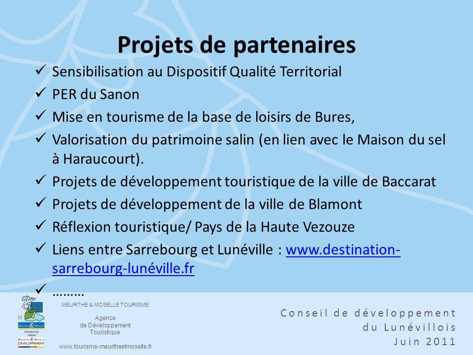 MEURTHE & MOSELLE TOURISME Agence de Développement Touristique www.tourisme-meurtheetmoselle.fr Conseil de développement du Lunévillois Juin 2011 Proj