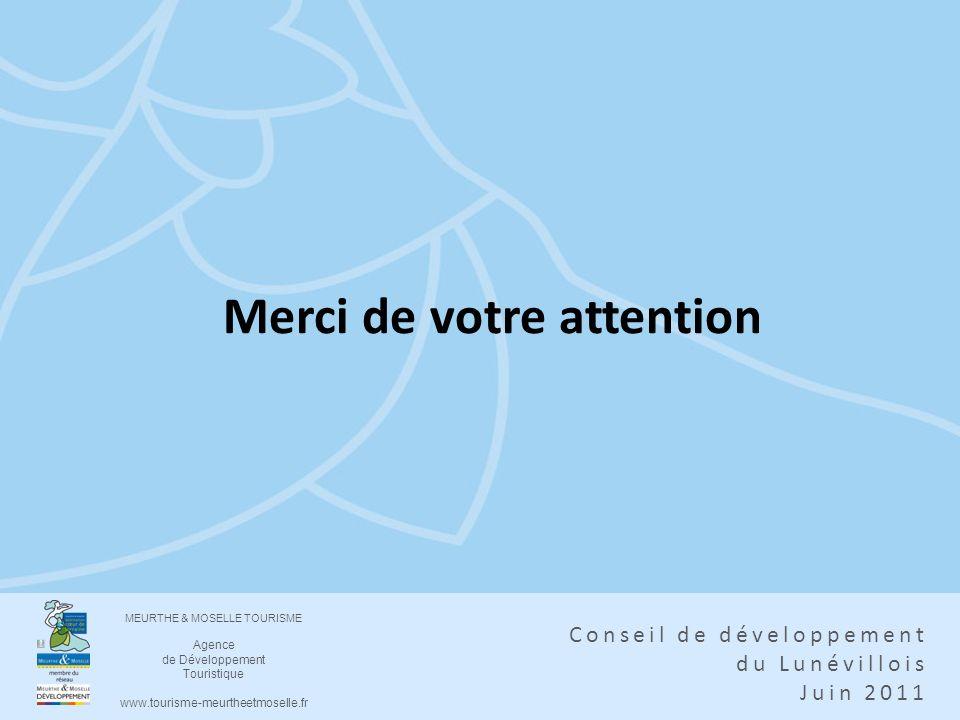 MEURTHE & MOSELLE TOURISME Agence de Développement Touristique www.tourisme-meurtheetmoselle.fr Conseil de développement du Lunévillois Juin 2011 Merc