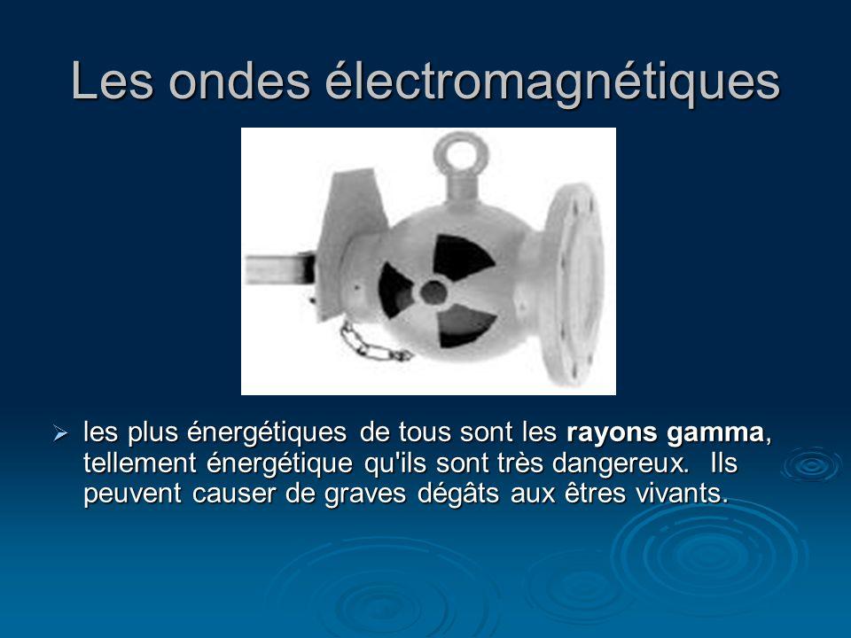 Les ondes électromagnétiques les plus énergétiques de tous sont les rayons gamma, tellement énergétique qu'ils sont très dangereux. Ils peuvent causer