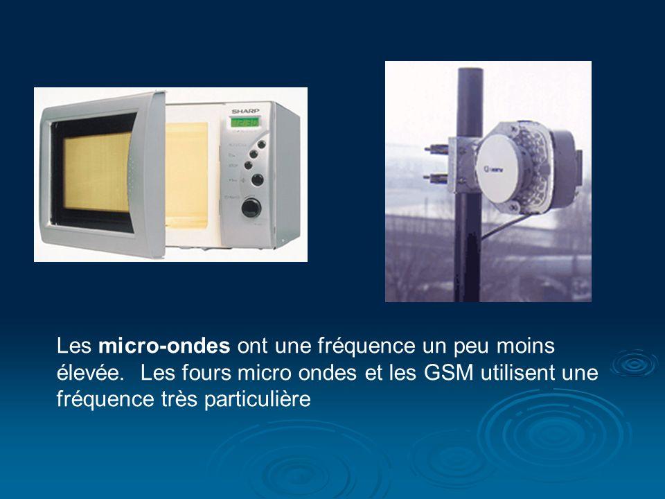 Les micro-ondes ont une fréquence un peu moins élevée. Les fours micro ondes et les GSM utilisent une fréquence très particulière