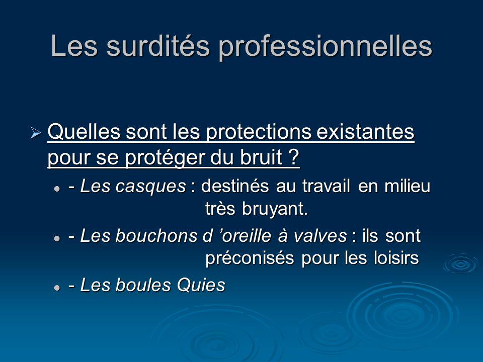 Les surdités professionnelles Quelles sont les protections existantes pour se protéger du bruit ? Quelles sont les protections existantes pour se prot