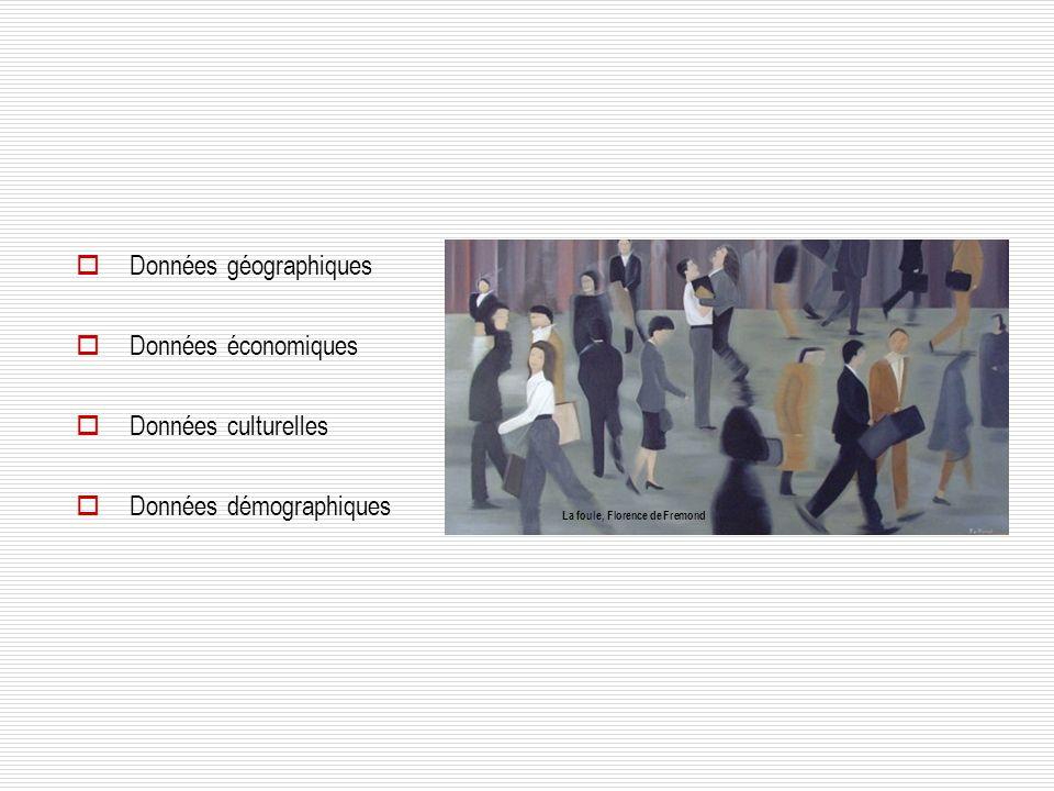 Données géographiques Données économiques Données culturelles Données démographiques La foule, Florence de Fremond