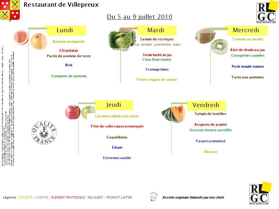 LundiMardiMercredi Jeudi Vendredi Restaurant de Villepreux Salade de lentilles Beignets de poulet Haricots beurre persillés Yaourt aromatisé Abricot T