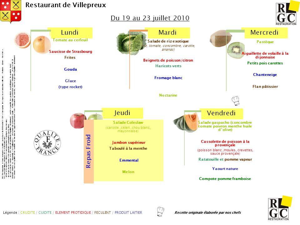 LundiMardiMercredi Jeudi Vendredi Restaurant de Villepreux Salade gaspacho (concombre tomate poivron menthe huile dolive) Cassolette de poisson à la p