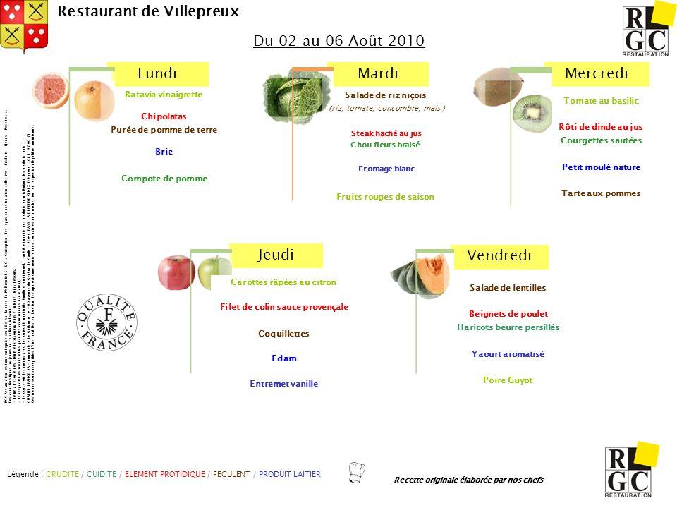LundiMardiMercredi Jeudi Vendredi Restaurant de Villepreux Salade de lentilles Beignets de poulet Haricots beurre persillés Yaourt aromatisé Poire Guy