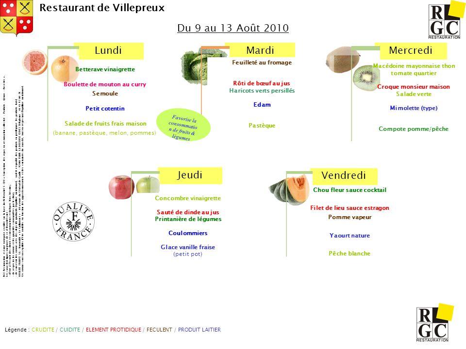 LundiMardiMercredi Jeudi Vendredi Restaurant de Villepreux Du 9 au 13 Août 2010 Légende : CRUDITE / CUIDITE / ELEMENT PROTIDIQUE / FECULENT / PRODUIT