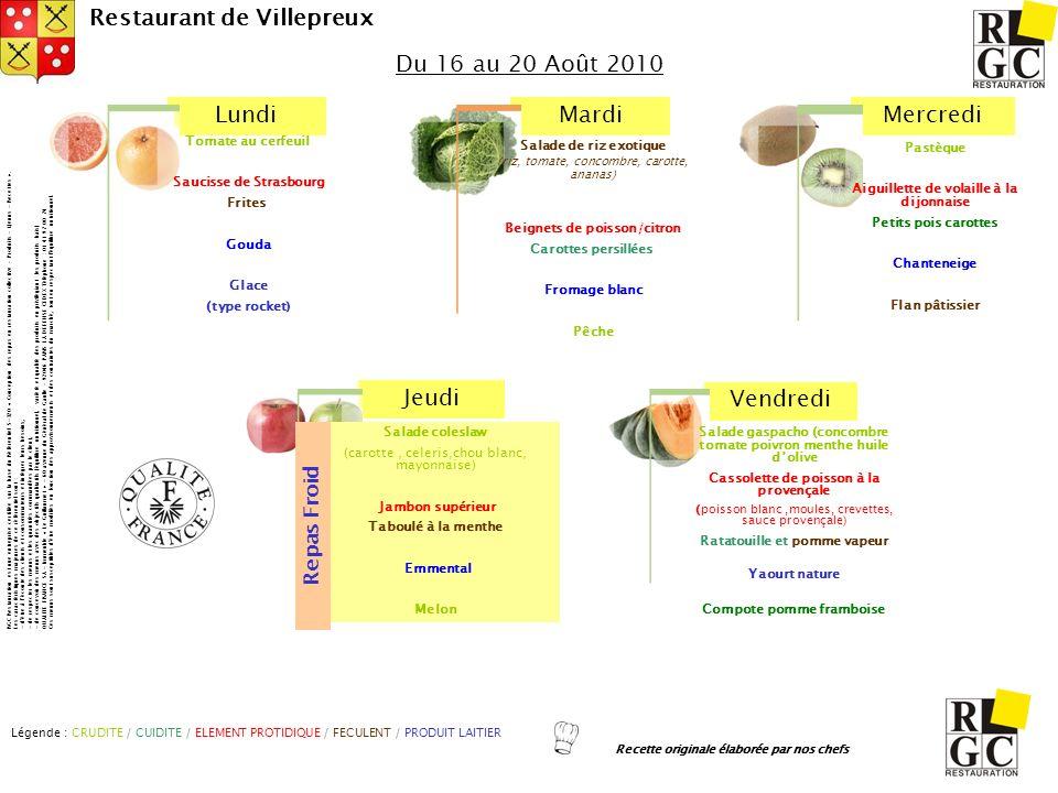 LundiMardiMercredi Jeudi Vendredi Restaurant de Villepreux Salade gaspacho (concombre tomate poivron menthe huile dolive Cassolette de poisson à la pr