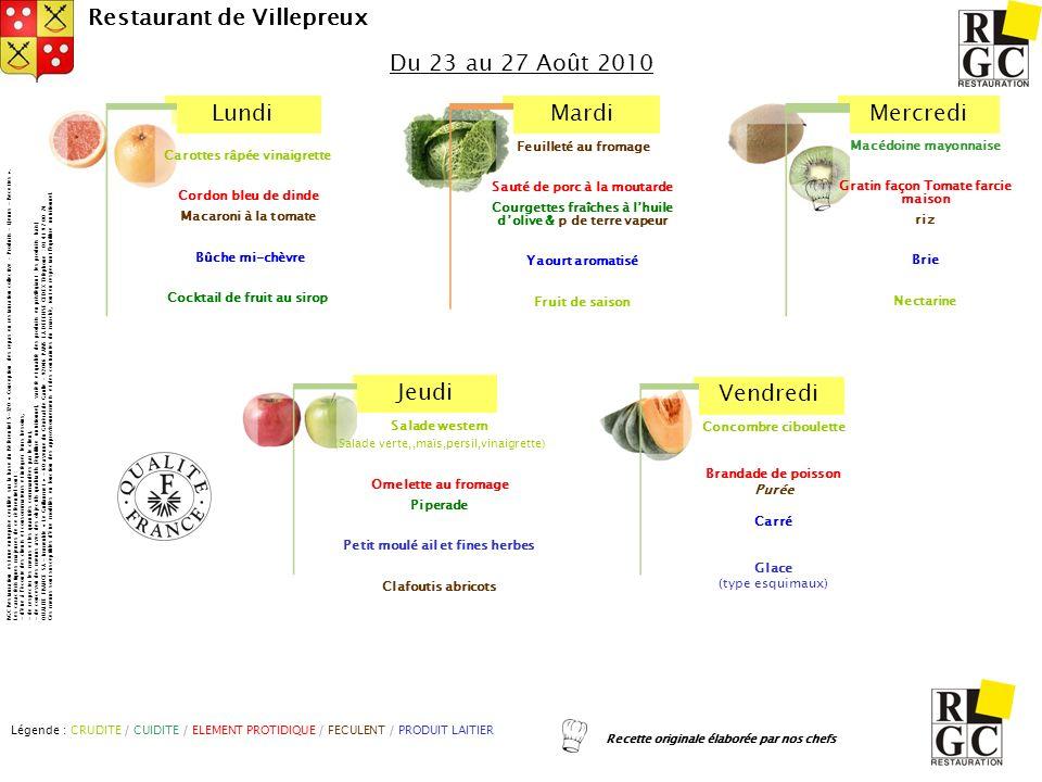 LundiMardiMercredi Jeudi Vendredi Restaurant de Villepreux Macédoine mayonnaise Gratin façon Tomate farcie maison riz Brie Nectarine Du 23 au 27 Août