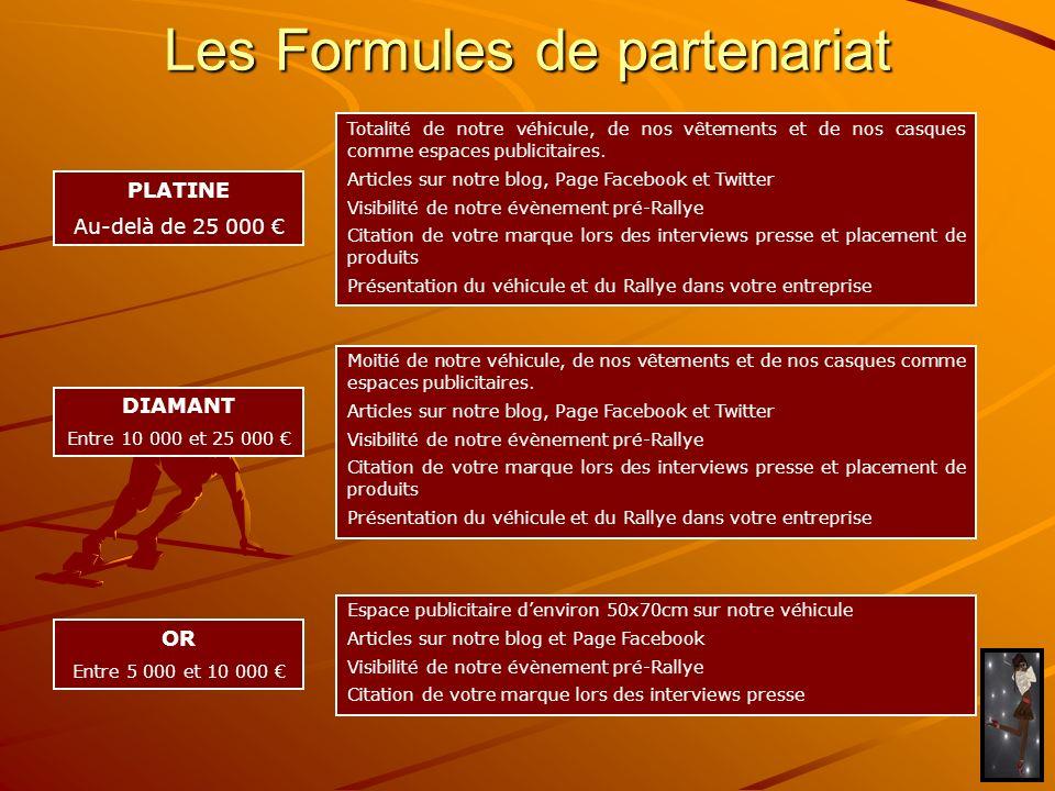 Les Formules de partenariat PLATINE Au-delà de 25 000 DIAMANT Entre 10 000 et 25 000 OR Entre 5 000 et 10 000 Totalité de notre véhicule, de nos vêtem