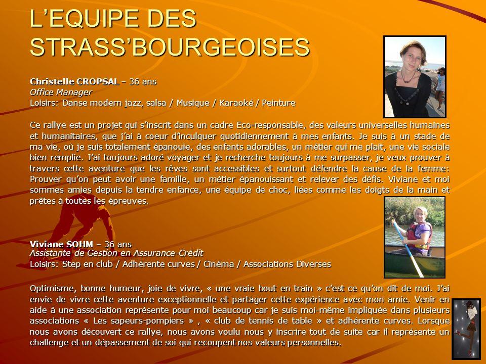 LEQUIPE DES STRASSBOURGEOISES Christelle CROPSAL – 36 ans Office Manager Loisirs: Danse modern jazz, salsa / Musique / Karaoké / Peinture Ce rallye es