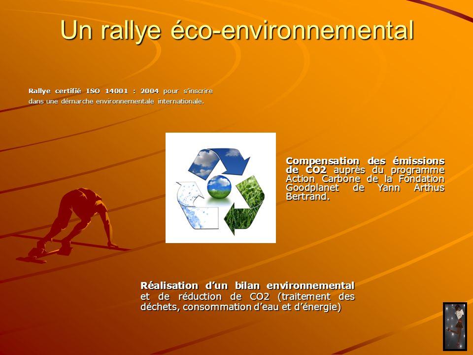 Un rallye éco-environnemental Rallye certifié ISO 14001 : 2004 pour sinscrire dans une démarche environnementale internationale. Compensation des émis