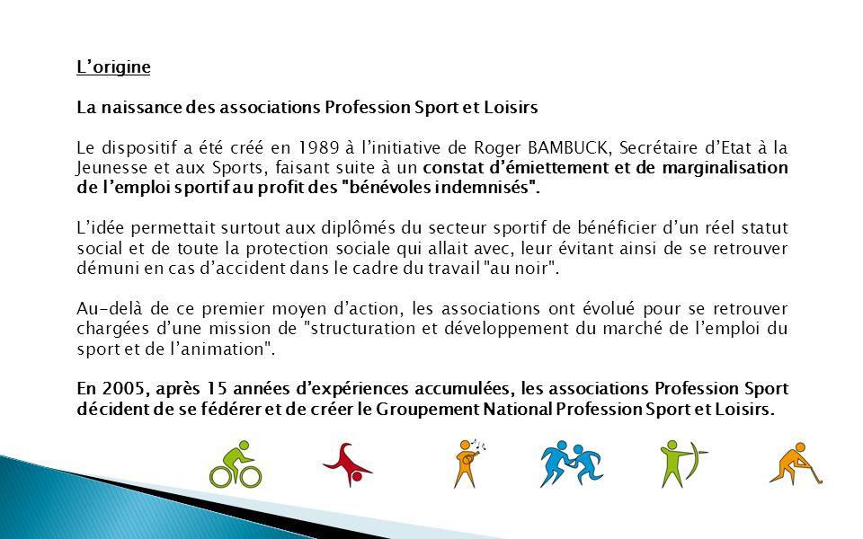 Lorigine La naissance des associations Profession Sport et Loisirs Le dispositif a été créé en 1989 à linitiative de Roger BAMBUCK, Secrétaire dEtat à la Jeunesse et aux Sports, faisant suite à un constat démiettement et de marginalisation de lemploi sportif au profit des bénévoles indemnisés .