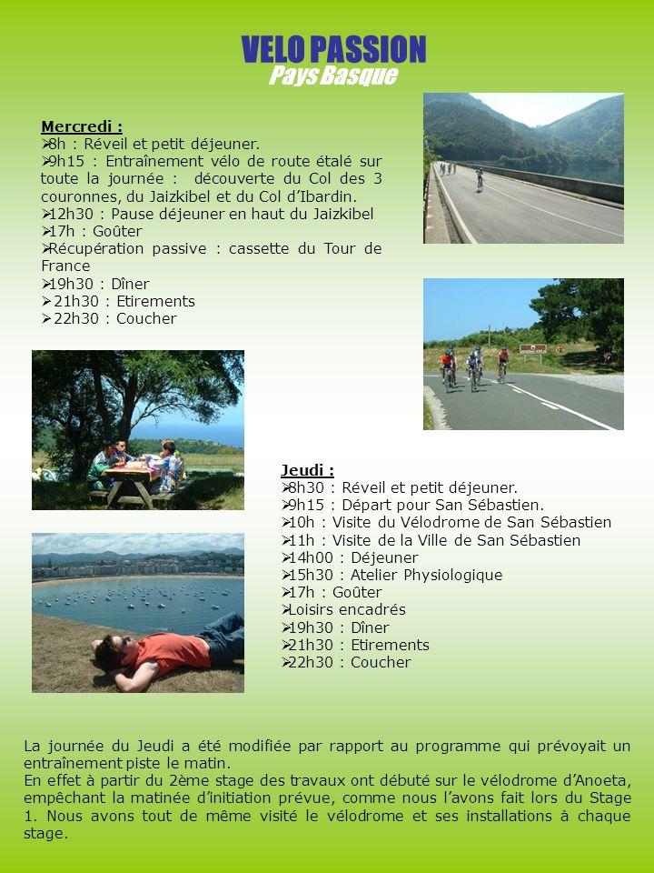 VELO PASSION Pays Basque Mercredi : 8h : Réveil et petit déjeuner. 9h15 : Entraînement vélo de route étalé sur toute la journée : découverte du Col de