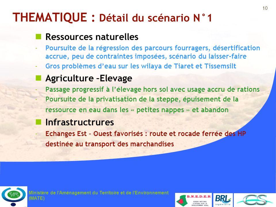 10 Ministère de lAménagement du Territoire et de lEnvironnement (MATE) THEMATIQUE : Détail du scénario N°1 Ressources naturelles -Poursuite de la régr