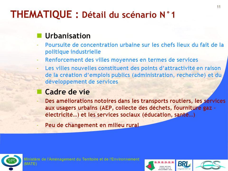11 Ministère de lAménagement du Territoire et de lEnvironnement (MATE) THEMATIQUE : Détail du scénario N°1 Urbanisation -Poursuite de concentration ur