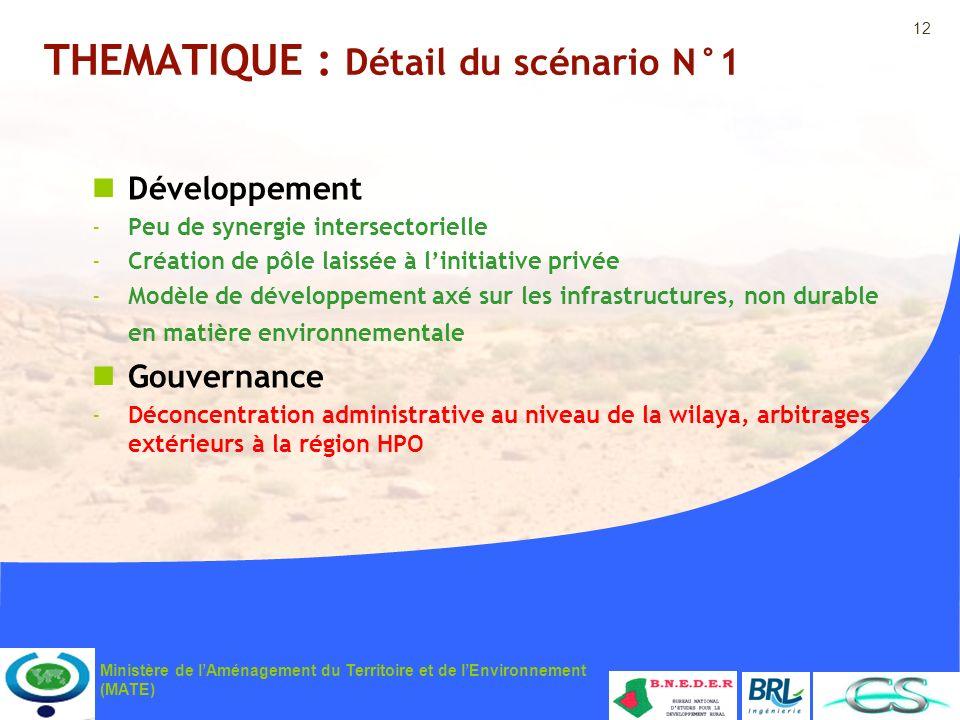 12 Ministère de lAménagement du Territoire et de lEnvironnement (MATE) THEMATIQUE : Détail du scénario N°1 Développement -Peu de synergie intersectori
