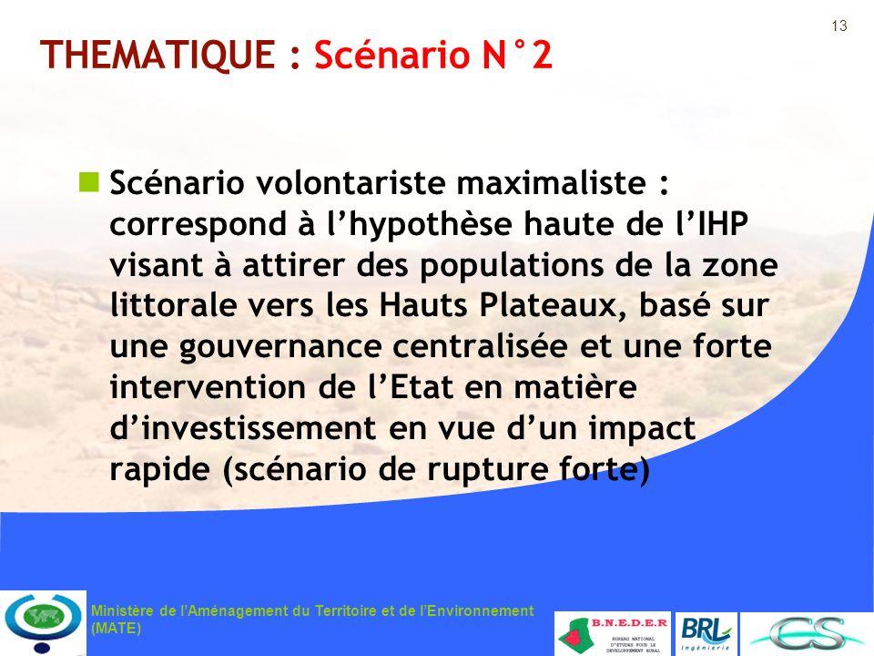 13 Ministère de lAménagement du Territoire et de lEnvironnement (MATE) THEMATIQUE : Scénario N°2 Scénario volontariste maximaliste : correspond à lhyp