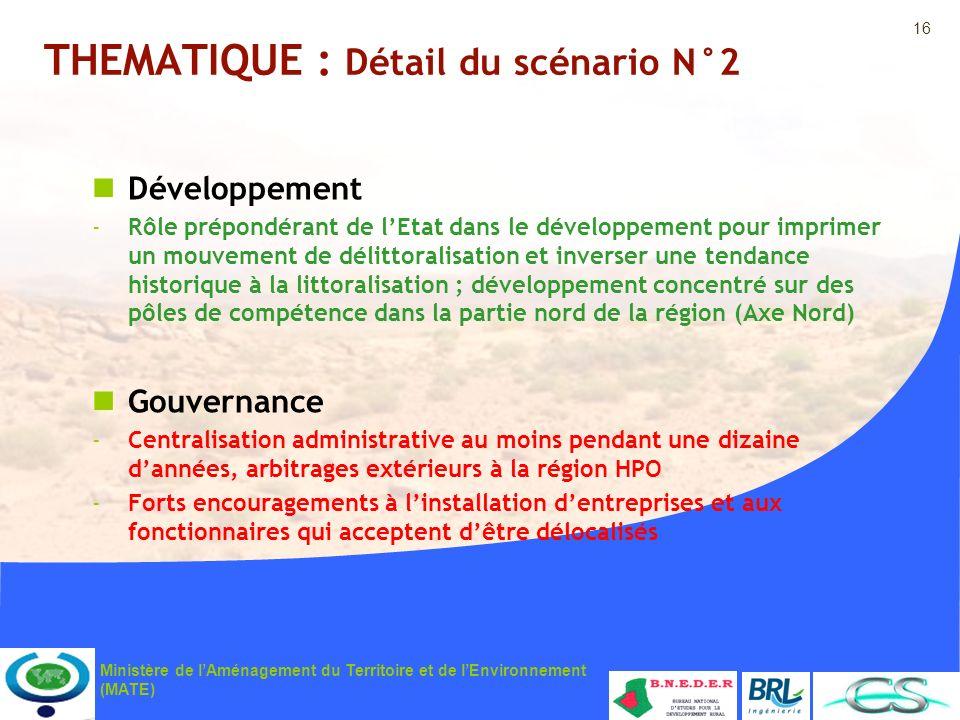 16 Ministère de lAménagement du Territoire et de lEnvironnement (MATE) THEMATIQUE : Détail du scénario N°2 Développement -Rôle prépondérant de lEtat d