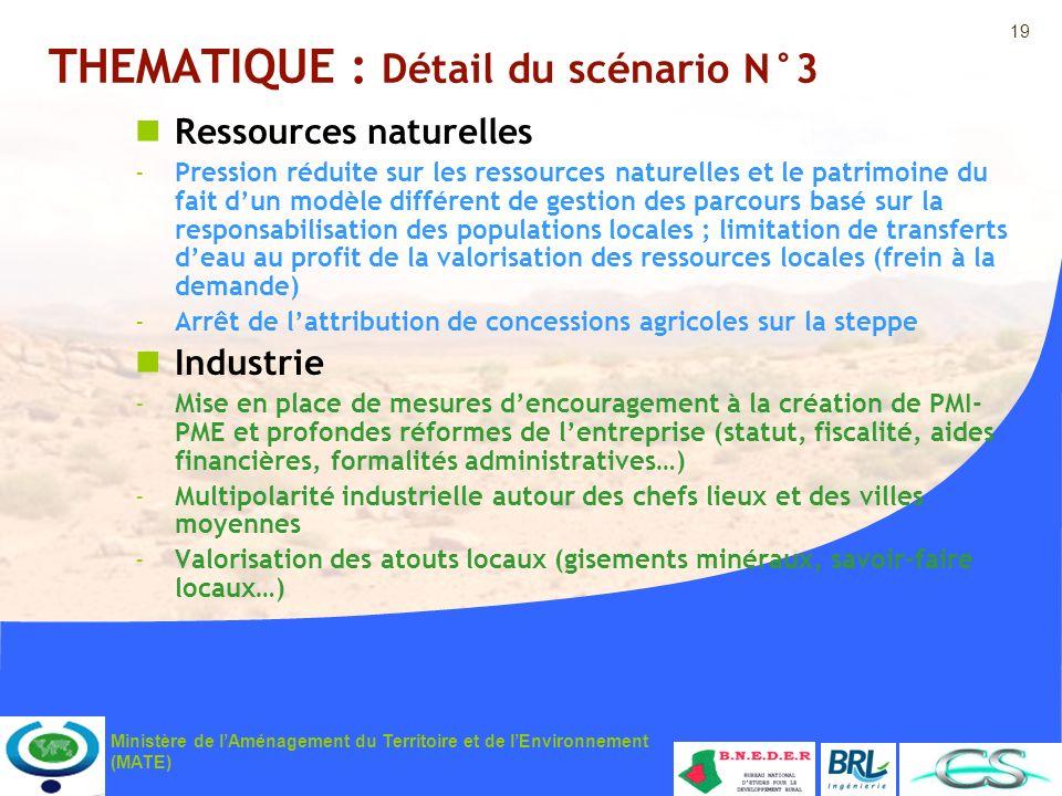 19 Ministère de lAménagement du Territoire et de lEnvironnement (MATE) THEMATIQUE : Détail du scénario N°3 Ressources naturelles -Pression réduite sur