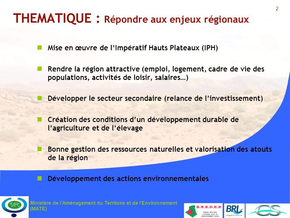 2 Ministère de lAménagement du Territoire et de lEnvironnement (MATE) THEMATIQUE : Répondre aux enjeux régionaux Mise en œuvre de lImpératif Hauts Pla