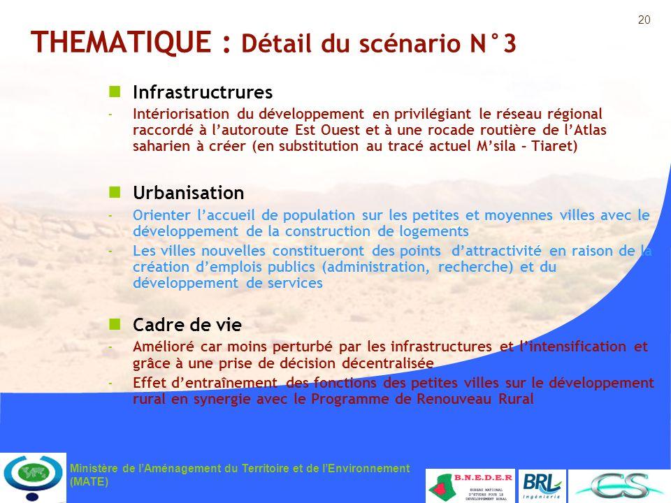 20 Ministère de lAménagement du Territoire et de lEnvironnement (MATE) THEMATIQUE : Détail du scénario N°3 Infrastructrures -Intériorisation du dévelo