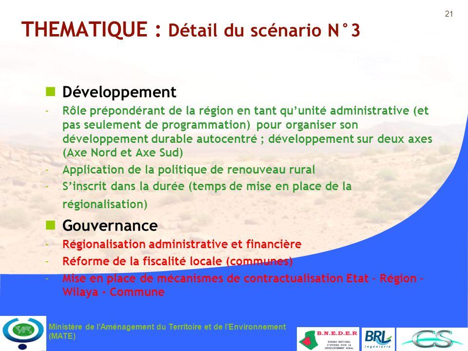 21 Ministère de lAménagement du Territoire et de lEnvironnement (MATE) THEMATIQUE : Détail du scénario N°3 Développement -Rôle prépondérant de la régi