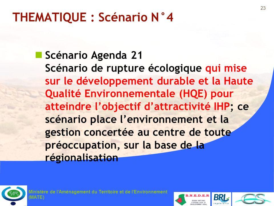 23 Ministère de lAménagement du Territoire et de lEnvironnement (MATE) THEMATIQUE : Scénario N°4 Scénario Agenda 21 Scénario de rupture écologique qui
