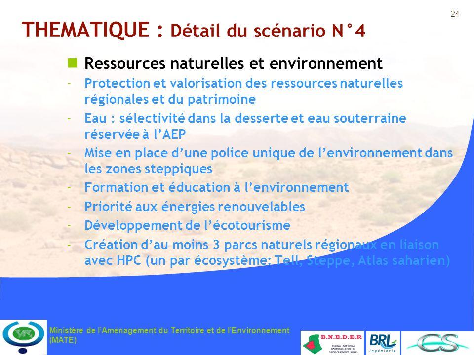 24 Ministère de lAménagement du Territoire et de lEnvironnement (MATE) THEMATIQUE : Détail du scénario N°4 Ressources naturelles et environnement -Pro