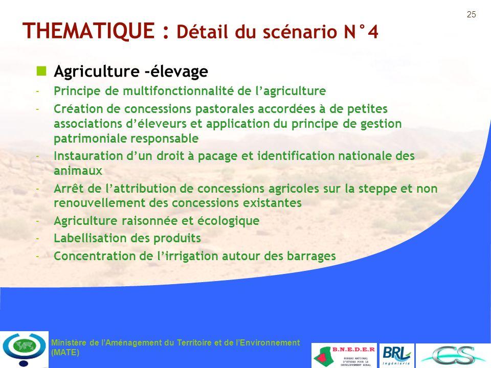 25 Ministère de lAménagement du Territoire et de lEnvironnement (MATE) THEMATIQUE : Détail du scénario N°4 Agriculture -élevage -Principe de multifonc