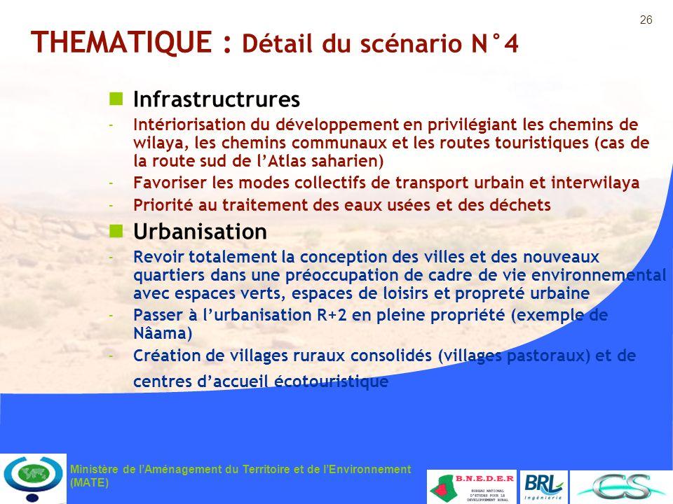 26 Ministère de lAménagement du Territoire et de lEnvironnement (MATE) THEMATIQUE : Détail du scénario N°4 Infrastructrures -Intériorisation du dévelo