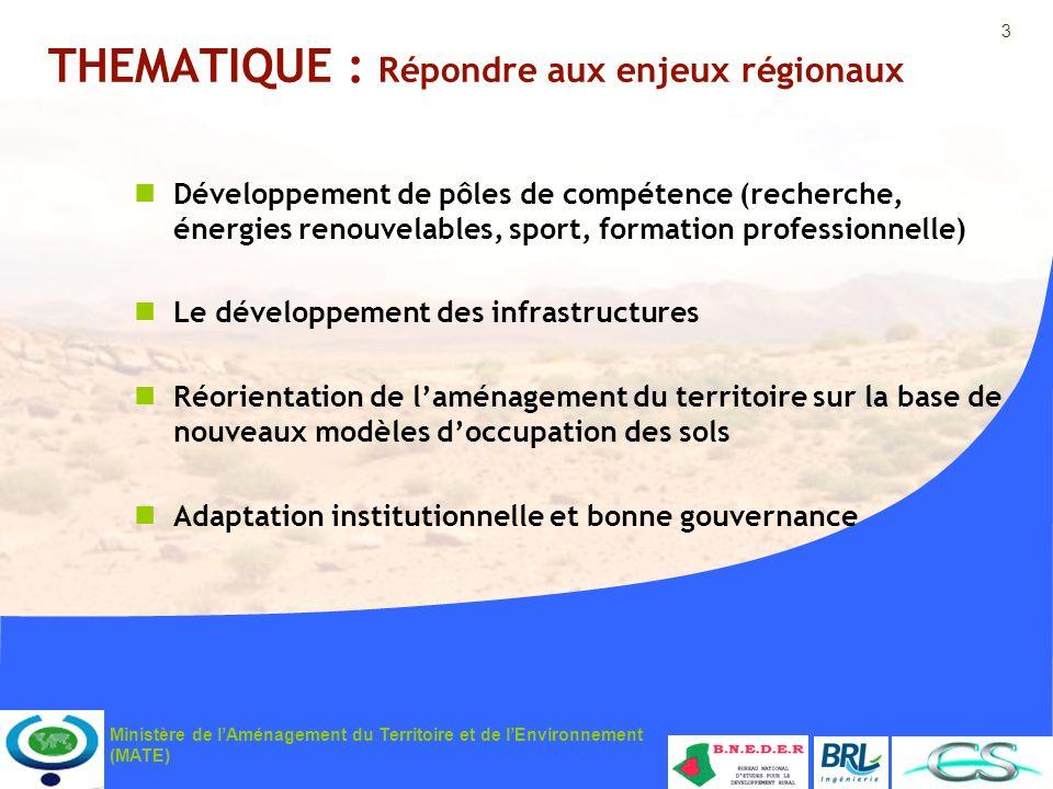 3 Ministère de lAménagement du Territoire et de lEnvironnement (MATE) THEMATIQUE : Répondre aux enjeux régionaux Développement de pôles de compétence