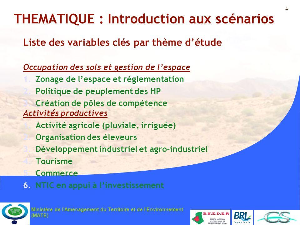4 Ministère de lAménagement du Territoire et de lEnvironnement (MATE) THEMATIQUE : Introduction aux scénarios Liste des variables clés par thème détud