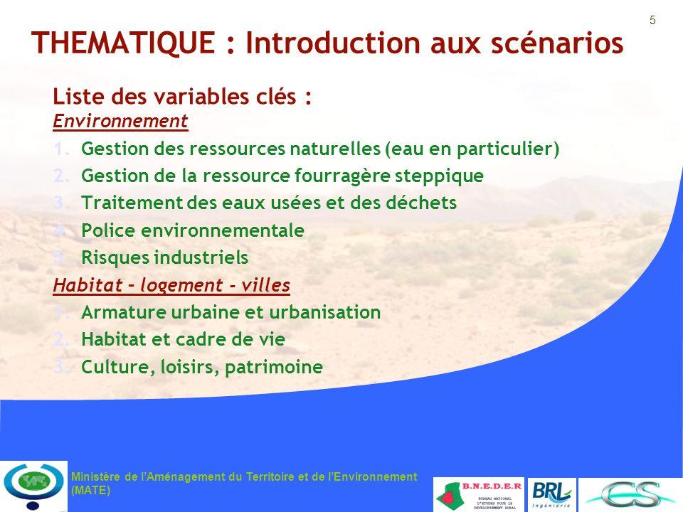 5 Ministère de lAménagement du Territoire et de lEnvironnement (MATE) THEMATIQUE : Introduction aux scénarios Liste des variables clés : Environnement
