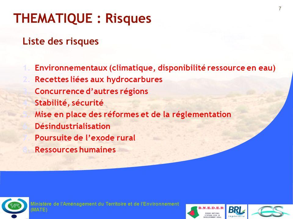 7 Ministère de lAménagement du Territoire et de lEnvironnement (MATE) THEMATIQUE : Risques Liste des risques 1.Environnementaux (climatique, disponibi