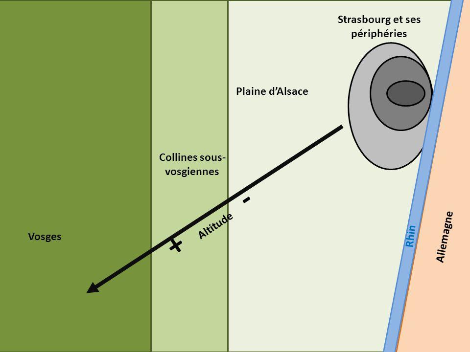 Vosges Collines sous- vosgiennes Plaine dAlsace Strasbourg et ses périphéries Rhin Allemagne + Altitude -