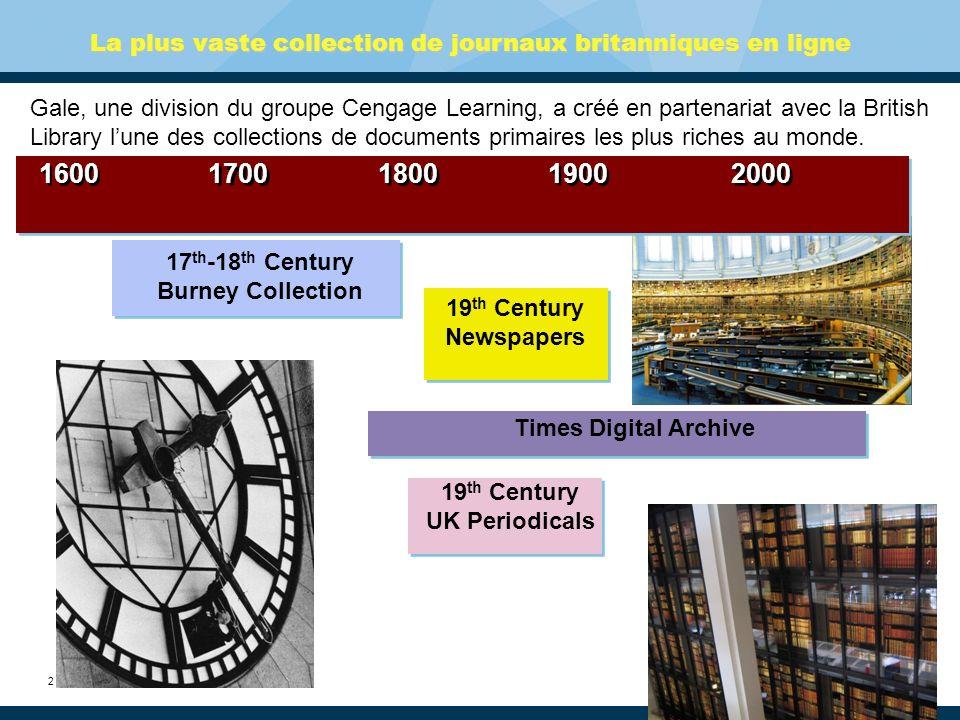 3 19 th Century British Library Newspapers La gamme la plus complète de journaux britanniques nationaux, régionaux et locaux jamais rendue accessible dans une collection numérique.