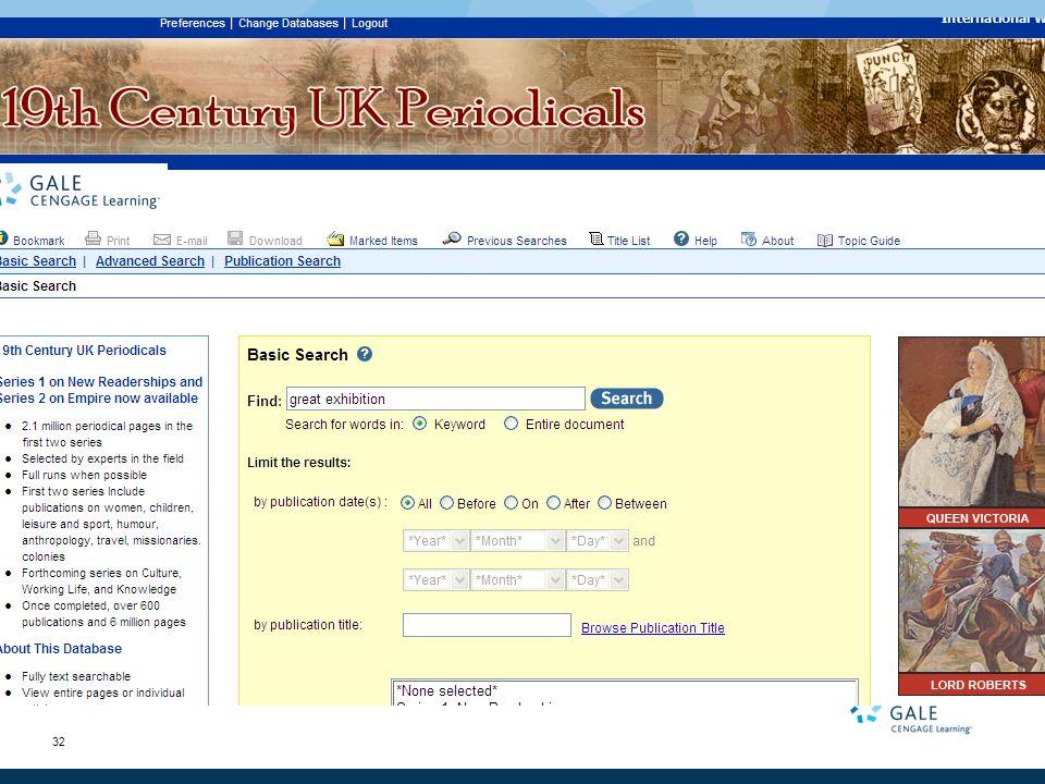 32 19th Century UK Periodicals Series 2: Empire Sample searches