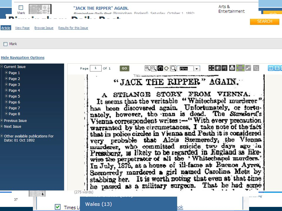 37 Sample search Gale NewsVault: Cross-search your historical newspaper collections