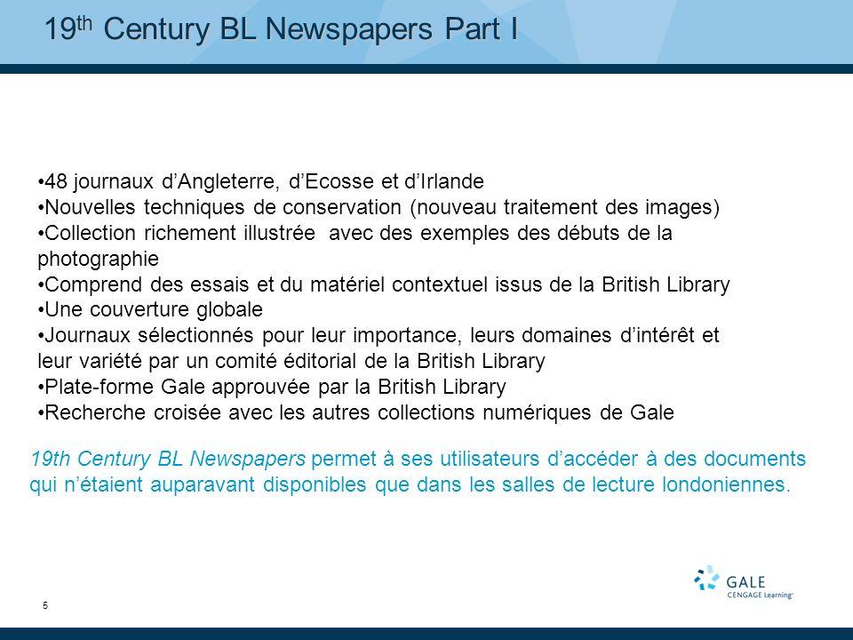 6 19 th Century BL Newspapers Part I – Liste de titres