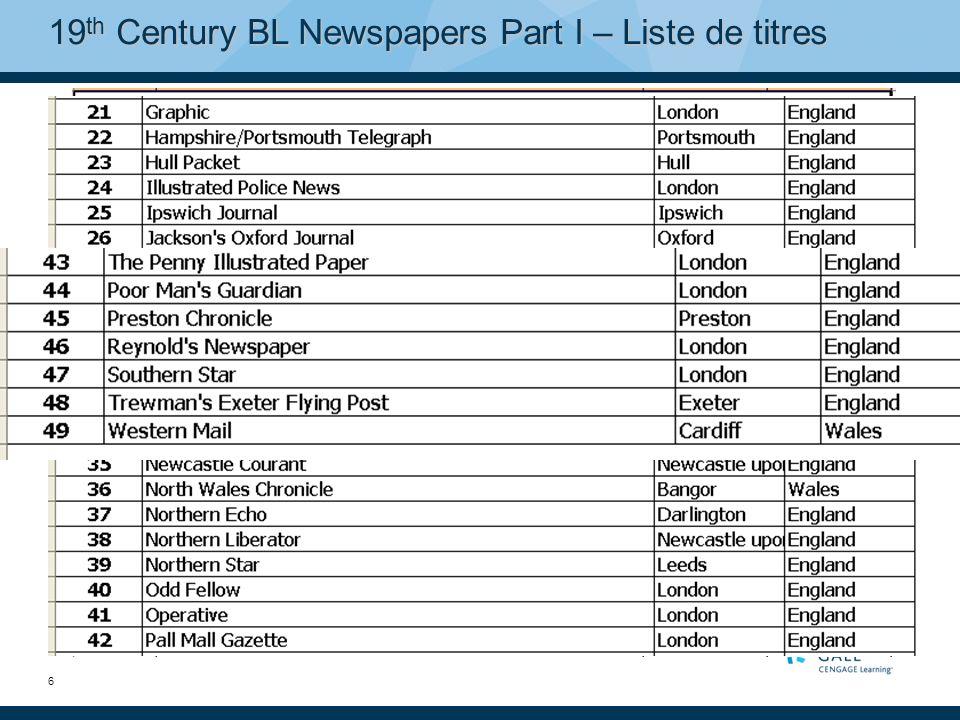 7 19 th Century BL Newspapers Part II 22 titres supplémentaires, soit près d1 million de pages Lobjectif de la Partie II, dirigée par un comité dexperts de la British Library, était daugmenter la gamme de journaux anglais régionaux et détendre ainsi léventail des orientations politiques représentées.