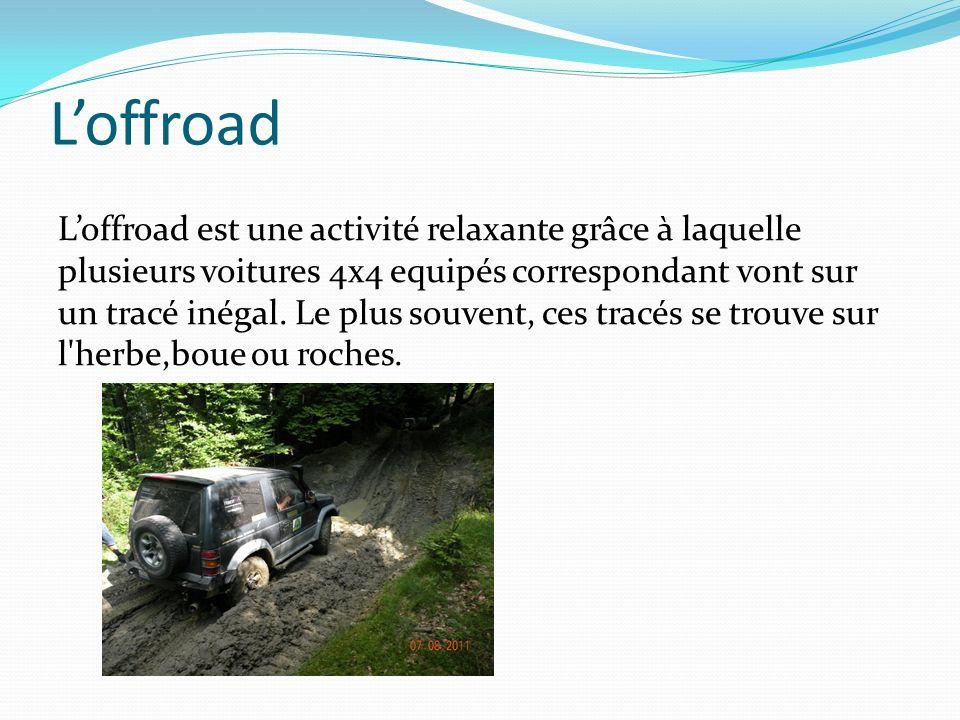 Loffroad Loffroad est une activité relaxante grâce à laquelle plusieurs voitures 4x4 equipés correspondant vont sur un tracé inégal. Le plus souvent,